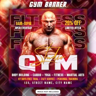 Flyer voor fitnessconcept en sjabloon voor spandoek voor sociale media