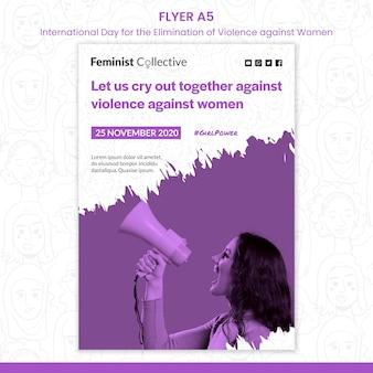 Flyer voor internationale dag voor de uitbanning van geweld tegen vrouwen