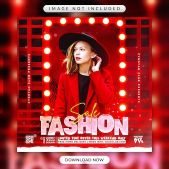 Flyer voor modeverkoop of reclamebannersjabloon voor sociale media