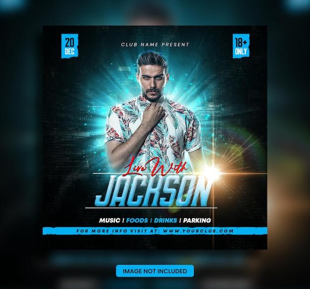 Flyer voor muziekavond dj-evenement of promotiesjabloon voor sociale media
