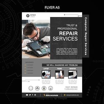 Flyer voor reparatiediensten voor computers en telefoons