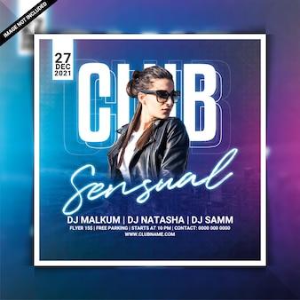 Flyer voor sensuele clubavondfeesten of post op sociale media
