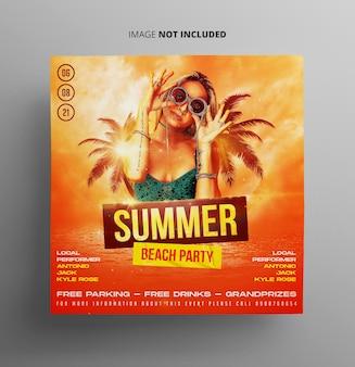 Flyer voor zomerstrandfeesten