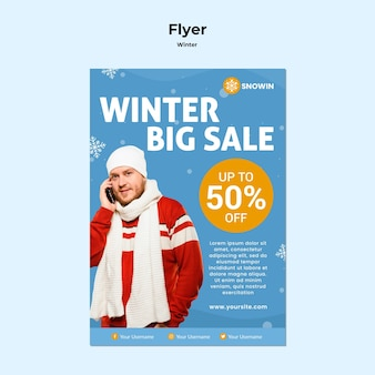 Flyer winter familie tijd sjabloon