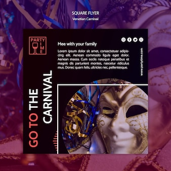 Flyerontwerp voor venetiaanse carnaval-sjabloon