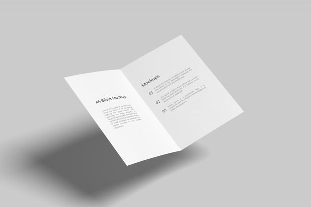 Flying a4 / a5 tweevoudig brochure mockup