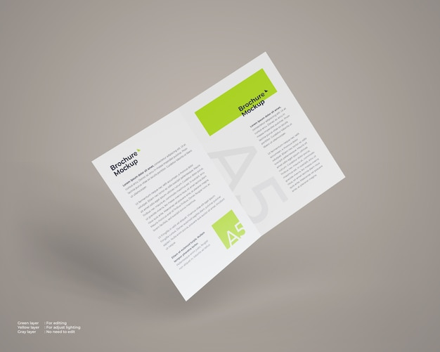 Flying a5 bi-fold brochure mockup