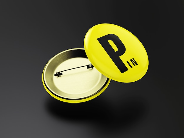 Flying badge of pin mockup