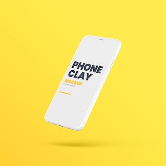 Flying clay telefoon apparaat mockup