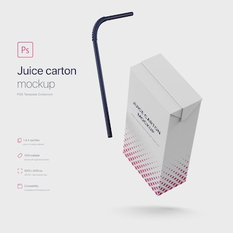Flying juice paper carton packaging met straw mockup