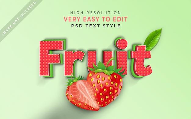Foglia della fragola di effetto del testo stile della frutta 3d