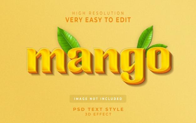 Foglia di bevande di succo di frutta effetto testo stile 3d mango