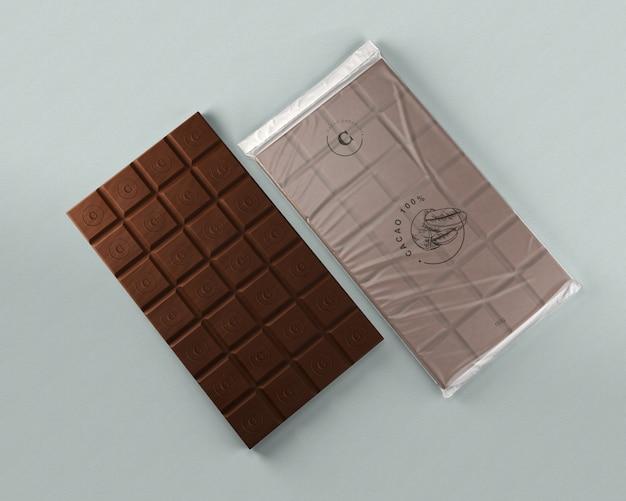 Foglio di cioccolato che avvolge mock-up