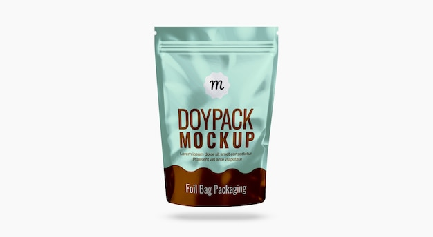 Foil bag mockup mockup per imballaggi alimentari mockup di buste di plastica