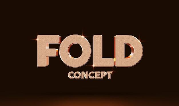 Fold concept 3d tekststijl effect mockup sjabloon