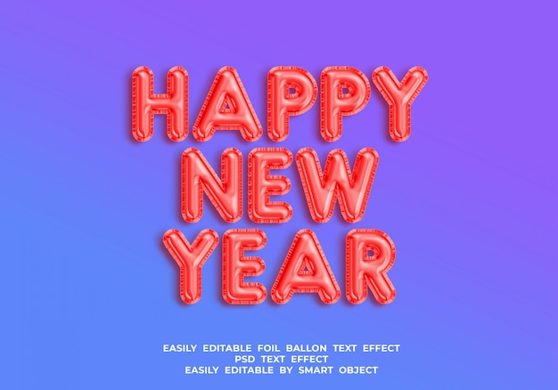 Folie ballon 3d teksteffect gelukkig nieuwjaar