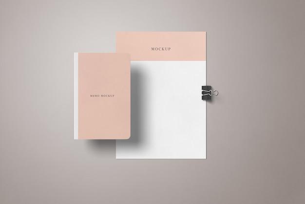 Folleto a4 y maqueta de libro de notas