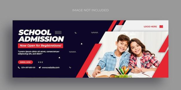 Folleto de banner web de redes sociales de regreso a la escuela y plantilla de diseño de foto de portada de facebook