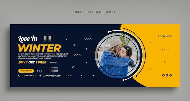 Folleto de banner web de redes sociales de venta de moda de invierno y plantilla de diseño de portada de facebook