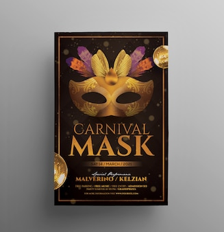 Folleto de carnaval de mardi gras