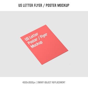 Folleto de carta roja de nosotros o maqueta de póster