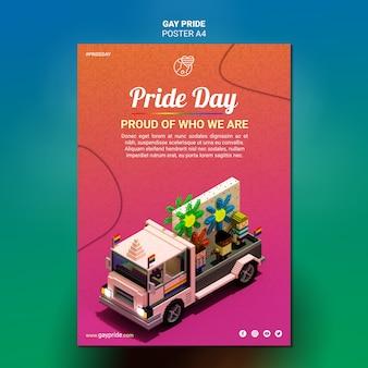 Folleto colorido de la plantilla del orgullo gay