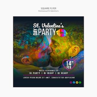 Folleto colorido para st. fiesta lgbt de san valentín con foto