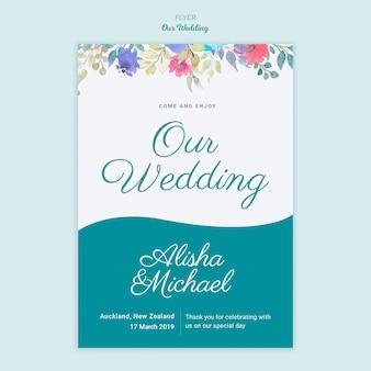 Folleto de concepto de boda colorida