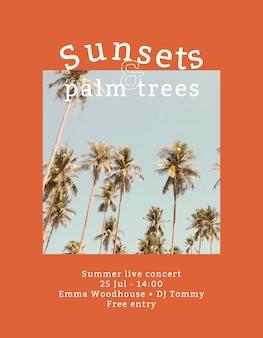 Folleto de concierto de verano con fondo tropical