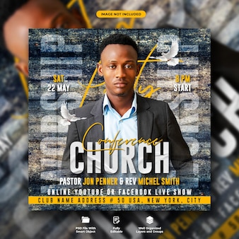 Folleto de la conferencia de la iglesia y plantilla de banner web para redes sociales