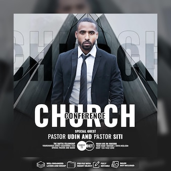 Folleto de la conferencia de la iglesia plantilla de publicación en redes sociales psd premium