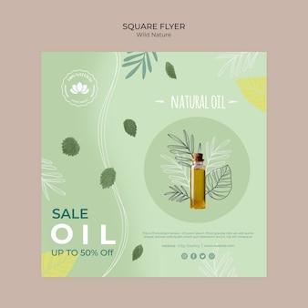 Folleto cuadrado de aceite natural naturaleza salvaje