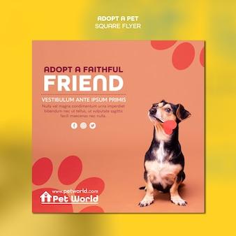 Folleto cuadrado para adopción de mascotas con perro