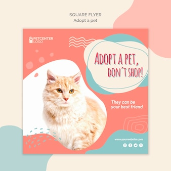 Folleto cuadrado de adopción de mascotas