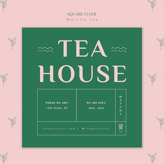 Folleto cuadrado de la casa matcha de té