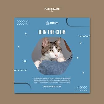Folleto cuadrado del club de los amantes del gato
