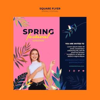 Folleto cuadrado colorido festival de primavera