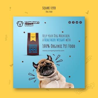 Folleto cuadrado de comida orgánica para perros