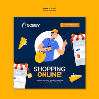 Folleto cuadrado de compras en línea