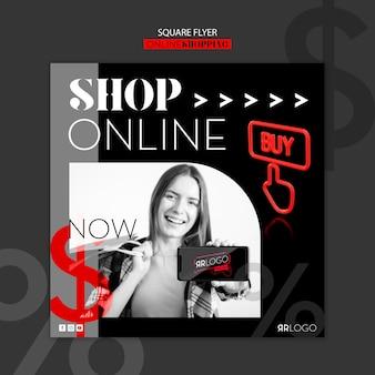 Folleto cuadrado de compras de moda en línea