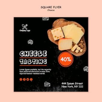 Folleto cuadrado de degustación de queso
