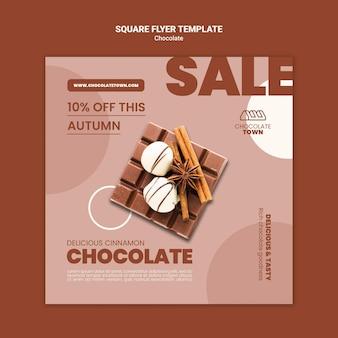 Folleto cuadrado delicioso chocolate