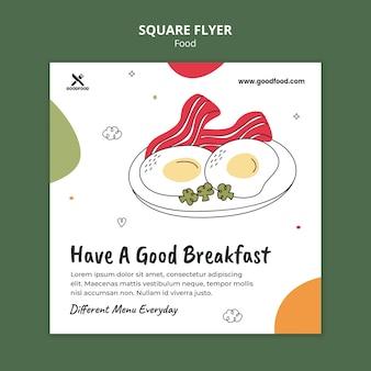 Folleto cuadrado delicioso desayuno