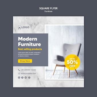 Folleto cuadrado de descuento de muebles modernos