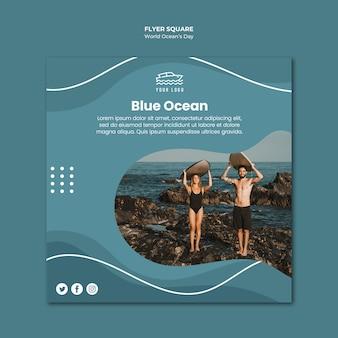 Folleto cuadrado del día mundial del océano
