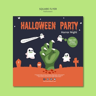 Folleto cuadrado para fiesta de halloween