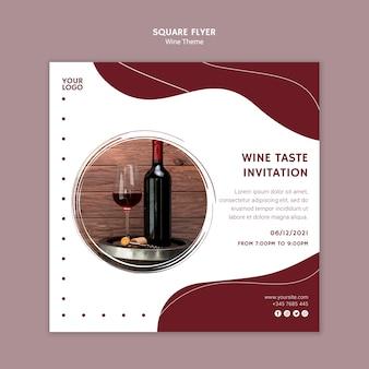 Folleto cuadrado de invitación de sabor de vino