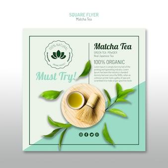 Folleto cuadrado minimalista de té matcha