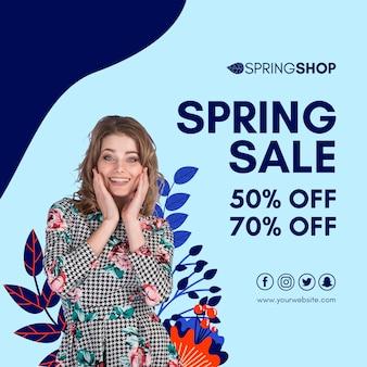 Folleto cuadrado de mujer y hojas de venta de primavera