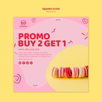 Folleto cuadrado de la oferta promocional de macarons